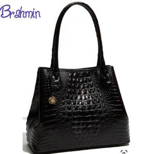 BRAHMIN Anytime Croc embossed black Leather tote